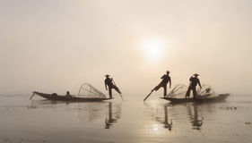 渔夫,缅甸 库存图片