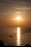 渔夫 在海的美好的日出在保加利亚 免版税图库摄影