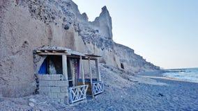 渔夫` s房子在圣托里尼,希腊 库存照片