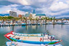 渔夫` s码头在Tamshui 免版税库存照片