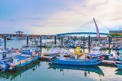 渔夫` s码头在Tamshui 免版税库存图片
