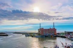 渔夫` s码头小船围场 库存照片