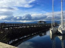 渔夫` s码头, Comox, BC 免版税库存图片