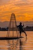 渔夫Inle湖掸邦缅甸 库存图片