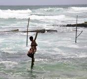 渔夫lanka sri高跷 免版税图库摄影