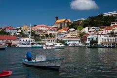渔小船被停泊在倾船 免版税库存照片