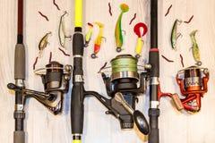 渔构成标尺卷轴诱剂诱饵晃摇物 库存照片