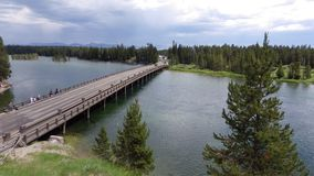 渔桥梁,黄石国家公园 免版税库存照片