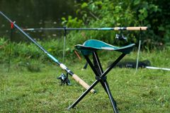 渔椅子和乘坐了以其余渔集合 免版税库存图片