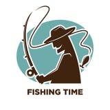 渔渔夫俱乐部或渔场体育手段商标的时间象 库存照片