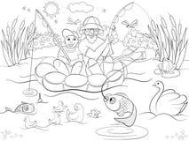 渔父亲和儿子河着色的儿童动画片的导航例证 免版税图库摄影