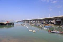 渔码头在xinglin桥梁,厦门市,瓷下 库存照片