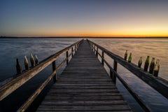 从渔码头, Reelfoot湖国家公园的黎明前光 图库摄影