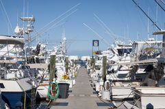 渔船和马达游艇 库存图片