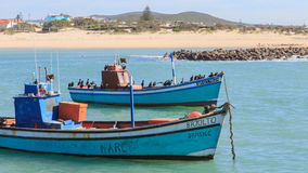渔船和鸬鹚 库存图片