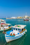 渔船在伊拉克利翁,克利特,希腊 库存图片