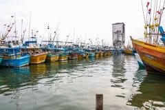 渔船在加勒港口,斯里兰卡站立 免版税图库摄影