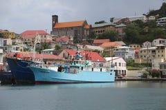 渔船在圣乔治` s小游艇船坞,格林纳达 库存照片