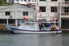渔船在圣乔治` s小游艇船坞,格林纳达 免版税库存图片
