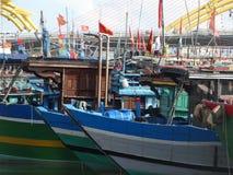 渔船在岘港市,越南 图库摄影