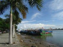 渔船在岘港市,越南 免版税库存照片