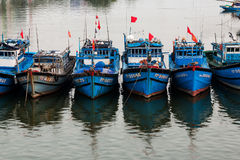 渔船在岘港市,越南 免版税图库摄影