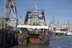 渔船在旁边在开普敦港口南非 免版税图库摄影