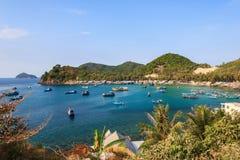 渔船在本Ngu码头, Nam Du islands, Kien Giang,越南 免版税图库摄影