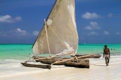 渔船在桑给巴尔 库存图片