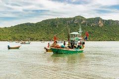 渔船在泰国湾的泰国中国南方 免版税库存照片