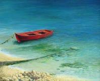 渔船在海岛Corfu 免版税库存照片