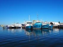 渔船在港口, FREMANTLE,澳大利亚 免版税库存图片