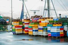 渔船在港口 免版税库存照片