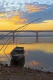 渔船在湄公河 免版税库存图片