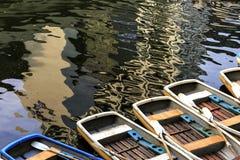 渔船在湖 库存照片