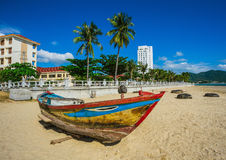 渔船在越南的小游艇船坞 免版税库存照片
