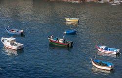 渔船在Camara de罗伯斯,马德拉岛海岛 库存照片