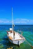 渔船在Formentera,巴利阿里群岛,西班牙停泊了 免版税图库摄影
