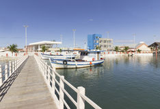 渔船在Guamare, RN,巴西 库存照片