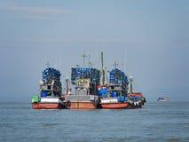 渔船在Myeik,缅甸 免版税库存图片