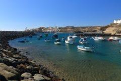 渔船在Tajao,特内里费岛 免版税库存图片