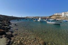 渔船在Tajao,特内里费岛 免版税库存照片