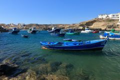 渔船在Tajao,特内里费岛 库存照片