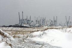 渔船队冬天 库存照片