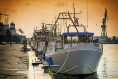 渔船队 图库摄影