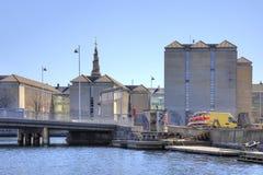 渠道在城市哥本哈根 免版税库存照片
