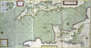 渠道的古色古香的地图betrween英国和法郎 向量例证