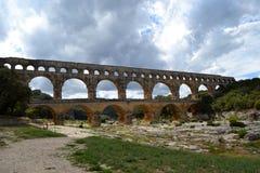 渡槽du法国gard pont 免版税库存照片