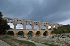 渡槽du法国gard pont 免版税库存图片