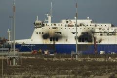 30/12/2014渡轮诺曼底大西洋停泊了在码头brindis 免版税库存图片